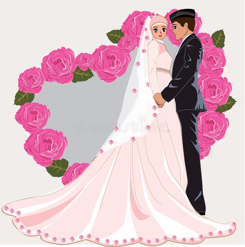Muslim Wedding Cartoon Romance Dress Face Couple Gown Bride Marriage Muslim Aff Romance Dress Car Wedding Couple Cartoon Muslim Wedding Wedding Humor