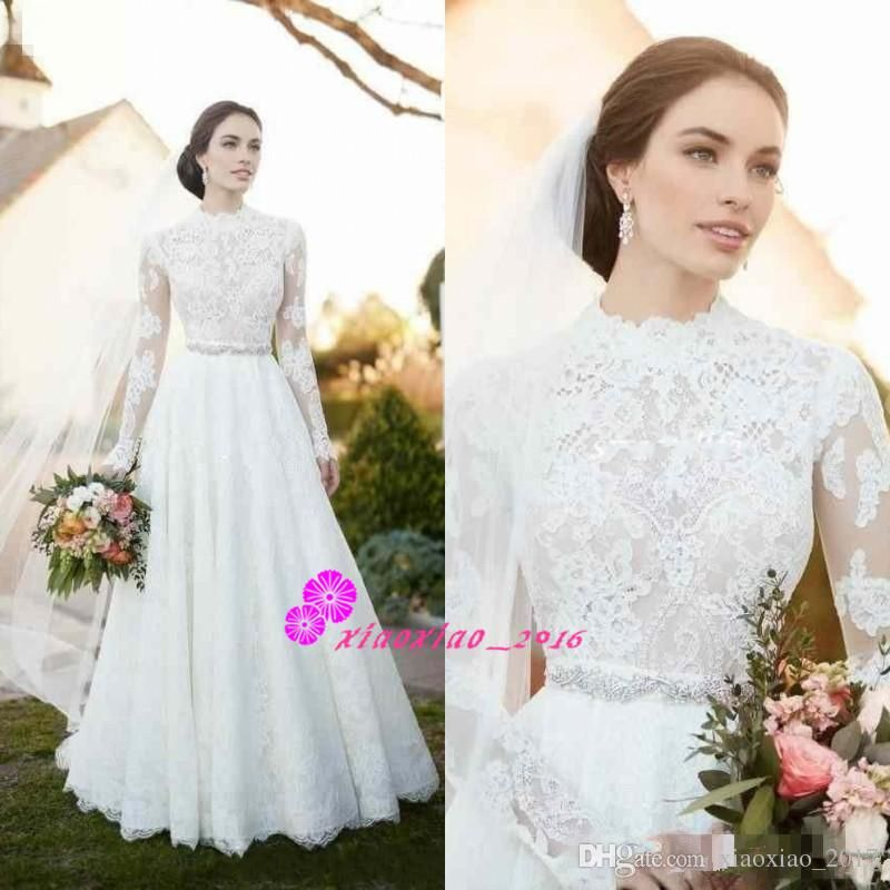 Discount 2018 Vintage Lace Country Wedding Dresses With Illusion Long Sleeve High Neck Beaded Sash Modest Plus Size Simple Outdoor Bridal Gowns Cheap Simple Wed Lace Wedding Dress Vintage Wedding Dress
