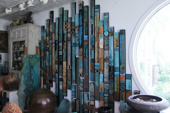 Incredibly beautiful, rich textured and unique, 45 piece set of my best selling Soul Totems, wood framed signature Lori Daniels glazed block art. Very well designed and executed large wood and metal large wall art installation. All my pigments hand mixed, no two totems alike. In the years since I invented and patented my sought after glaze to create this type of art, 3000 soul totems have been sold. Sizes start at 15 inches tall and go to 6 feet tall by 3 inches wide. Higher ceilings can be…