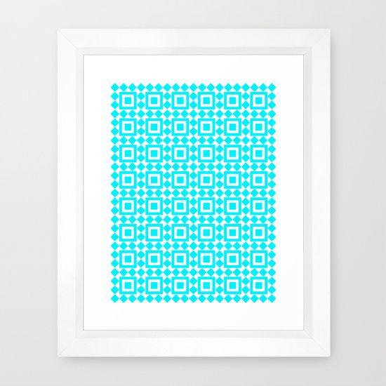 Moroccan Tiles Teal Framed Art Print