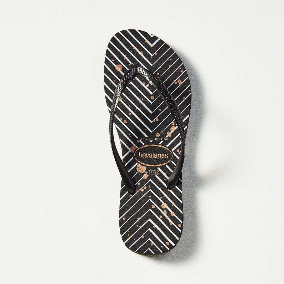 549c76fdf Havaianas Slim Metal Logo Print (Stripes Paint) Black Black Thongs. Classic  black