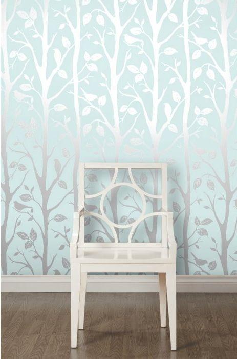 Shimmer Harmony Wallpaper Teal Silver Ilw980019 Girls Bedroom Wallpaper Girl Bedroom
