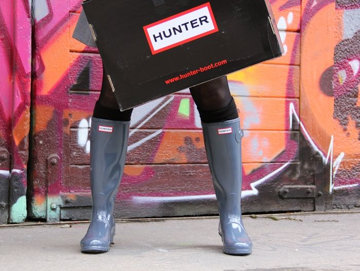 Hunter boots / wellies W23616 tall gloss in gray...