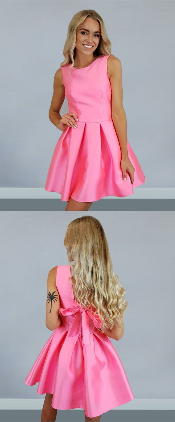 A-Line Round Neck Rose Pink Satin Short Homecoming Dress with Bowknot