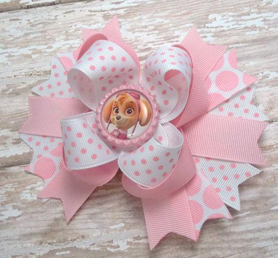Handmade Girls Paw Patrol Skye Pink Glitter large 5 inch Hair Bow Clips