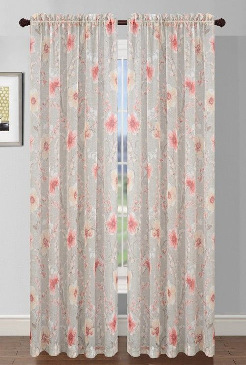 Pamela Floral Printed Sheer Curtain Panel (Coral)