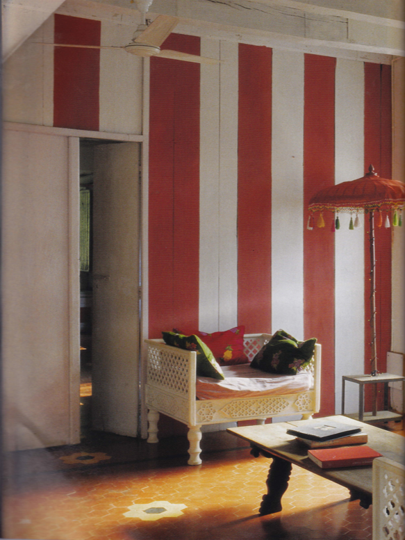 "Living room of Agathe Gerin and husband Desmond Lazaro. Image from ""World of Interiors"" Sept. 2009 Issue"