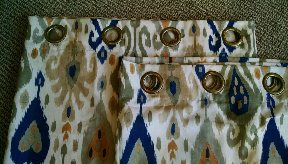 Pier 1 Imports two lined curtain panels IKAT modern design grommet EUC! 50×84 #Pier1Imports #Modern
