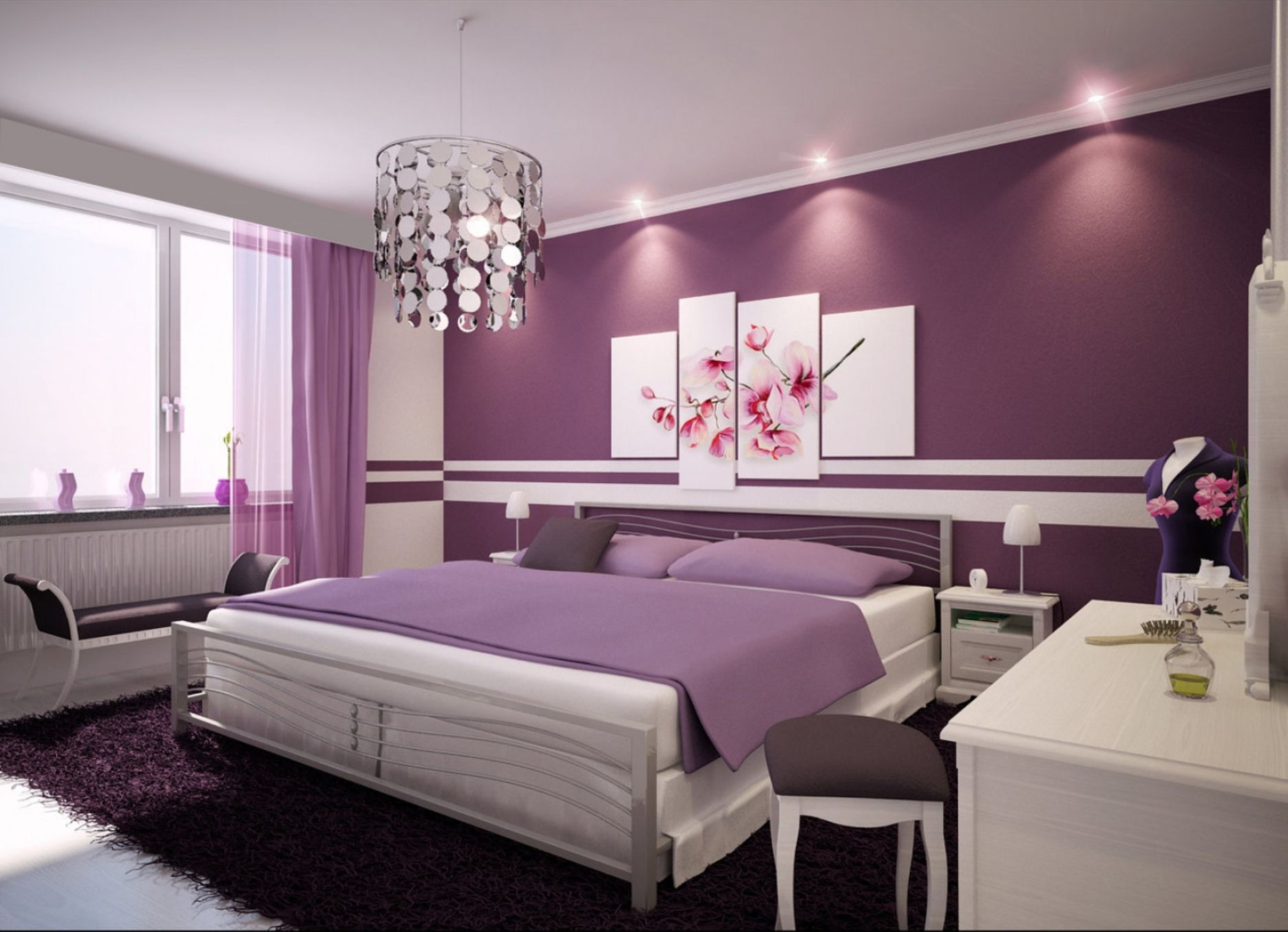 Bedroom Design For Girls With Purple Wallpaper And Large King Bed In Small Room Purple Bedroom Design Beautiful Bedroom Designs Home Bedroom