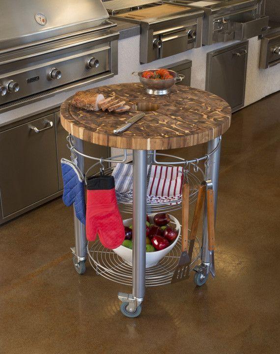 Round Kitchen Cart Butcher Block : Chris & Chris Pro Stadium Grill Kitchen Cart with Round Butcher Block Top - Acacia Wood Prep ...