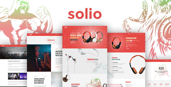 SOLIO V Music Brand Headset HTML Template Https - Single product ecommerce template