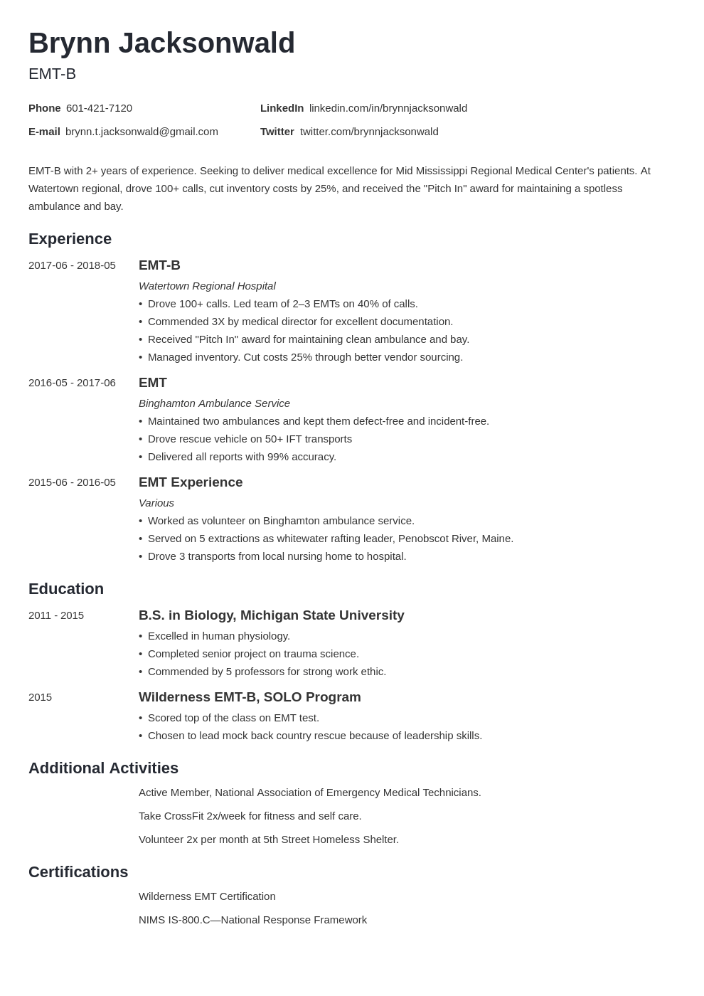 emt resume example template minimo  resume examples job