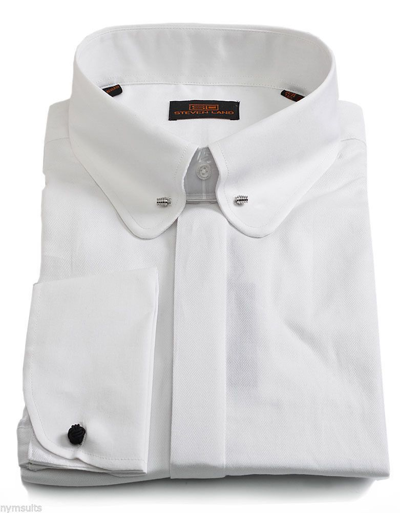 36b322a5076 Steven Land Dress Shirt White Club Collar - w/ Collar Bar French Cuff -  DS1101