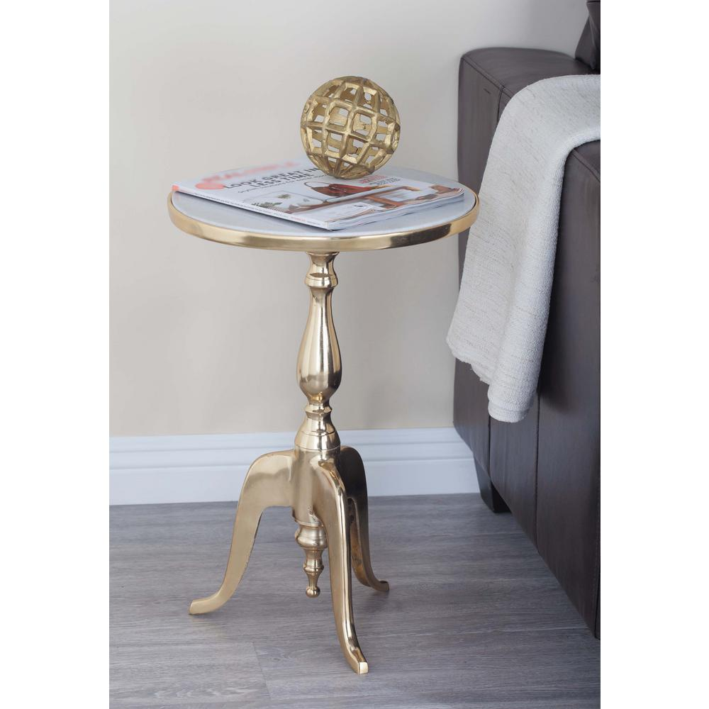- Litton Lane Classic Round White Marble Accent Table 68998 Marble