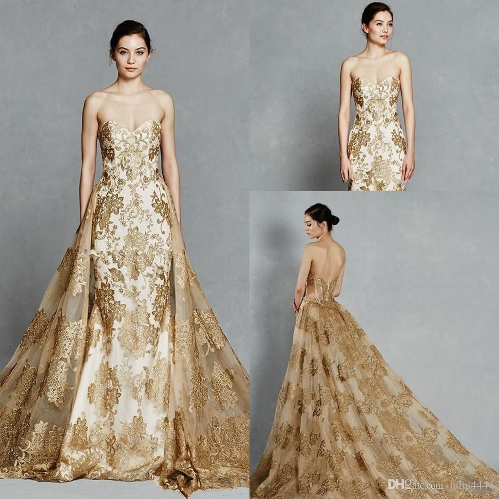 gold-lace-applique-mermaid-wedding-dresses.jpg 1,024×1,024 ...