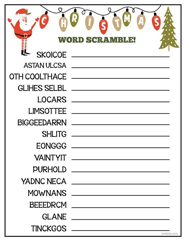 Christmas Worksheet Word Scramble! Christmas word