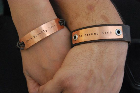 Men Women S Set Of Matching Personalized Bracelets Couples Gift