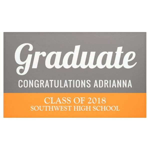 graduate typography congratulations grey orange banner graduation