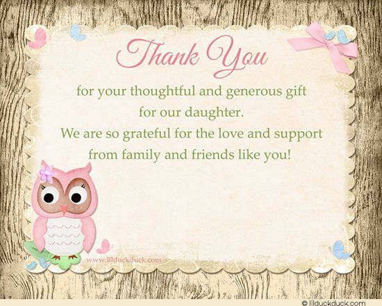 Baby Shower Thank You Card Verse Ideas | Pink owl, Thank you cards ...