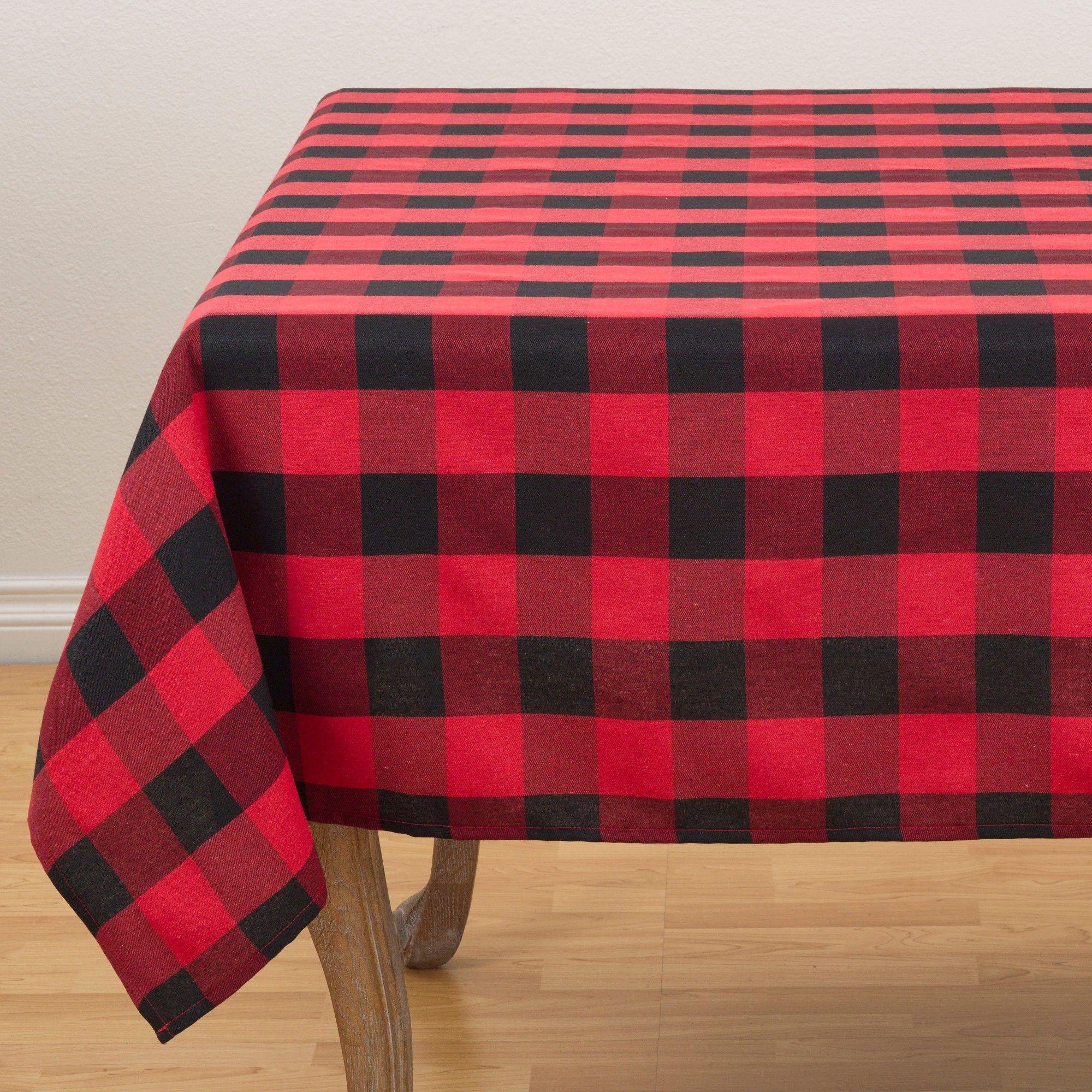 "70""x70"" Buffalo Plaid Tablecloth Red/Black Saro"