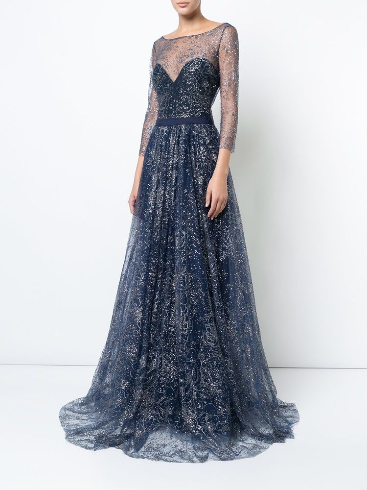 Details about $995 NEW Marchesa Notte Navy Blue Glitter Tulle Gown Embroidered Crystals 6 10