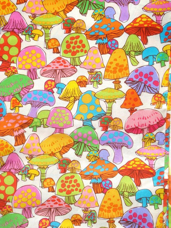 Groovy mushrooms Timeless Treasures Fun fabric FQ or by claydeal, $3.99