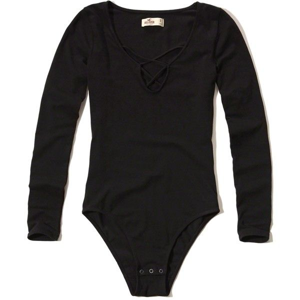 334e912bc4 Hollister Long-Sleeve Strappy Front Bodysuit (£15) ❤ liked on Polyvore  featuring intimates