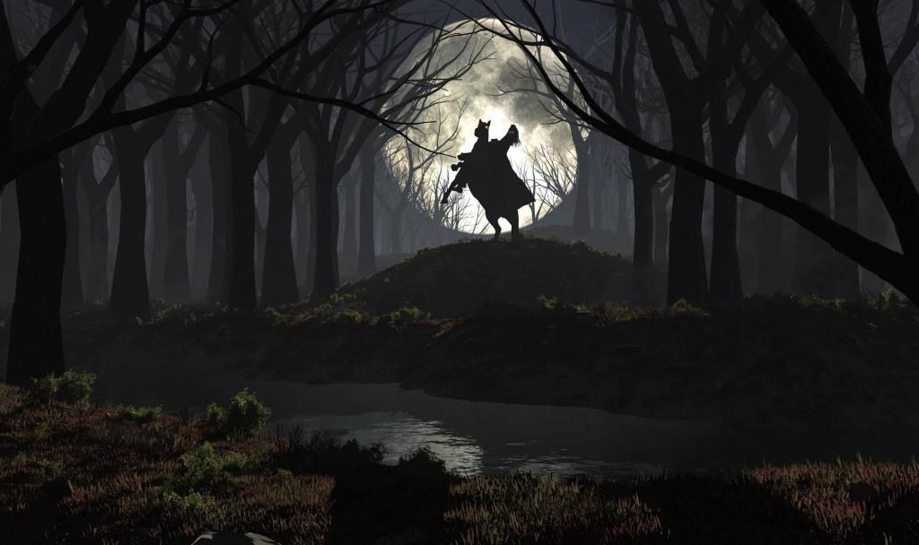 Feirce Rider In Moonlight Spooky Background Forest Background Forest Wallpaper