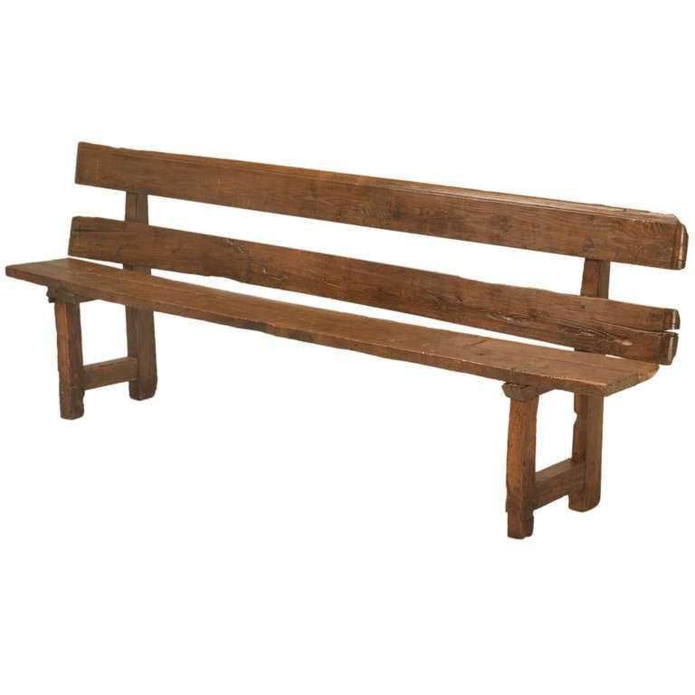 Antique French White Oak Rustic U0026amp; Primitive Dining Bench W/Back | From A