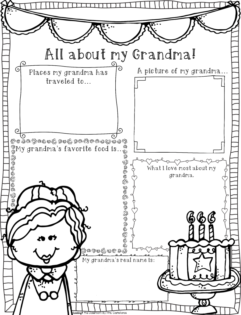 grandparents day activities  cards  acrostic poem  graphic organizer  and letters in english and