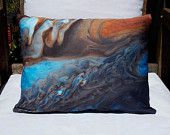"Jupiter's Spots 16"" x 12"" Pillow Cover: NASA Telescope Space Planetary Image (Made to Order) / Blue, Brown, Orange, Rust"