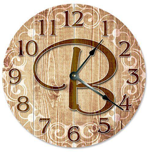 LETTER B MONOGRAM CLOCK Decorative Round Wall Clock Home Decor Large ...