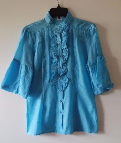 Women-039-s-CERES-L-Cotton-Silk-Gorgeous-3-4-Sleeve-Blouse-Ruffles-Solid-Sky-Blue