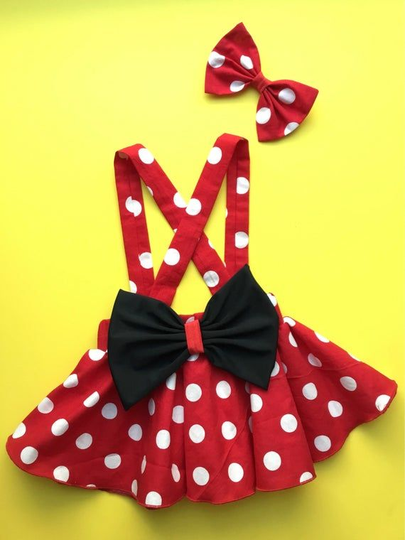 Minnie Mouse birthday outfit Red Pink polka dots criss cross suspenders circle SKIRT ONLY, with a matching hairbow, Baby infant toddler girl