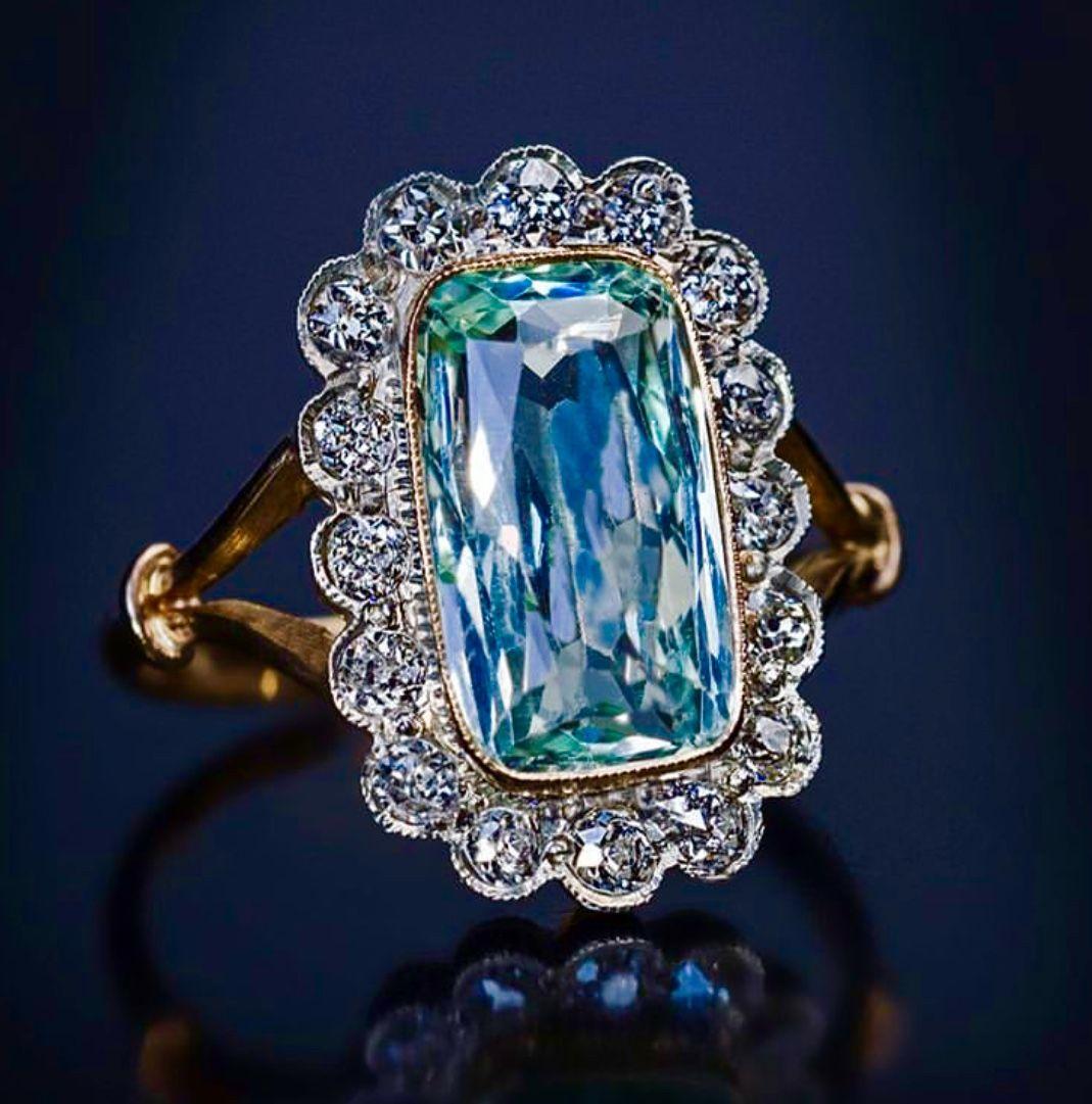 Art deco diamond aquamarine cocktail ring russian