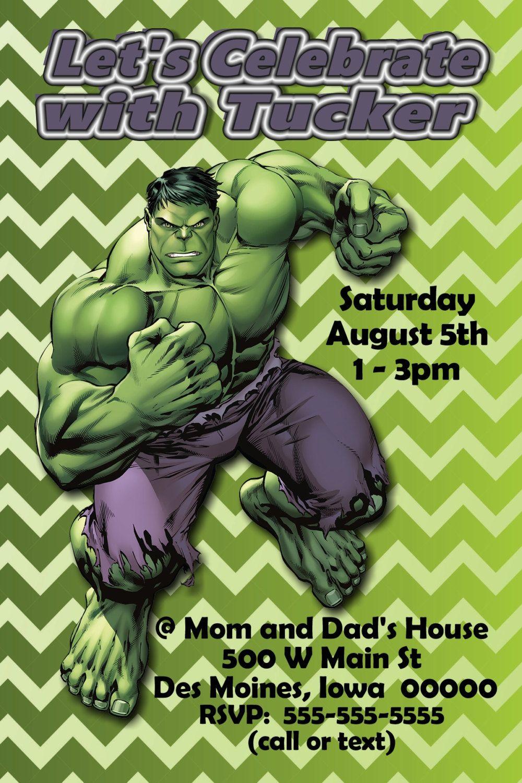 Custom Hulk Birthday Party Invitation Print At Home Digital File By LawsonCardShop On Etsy