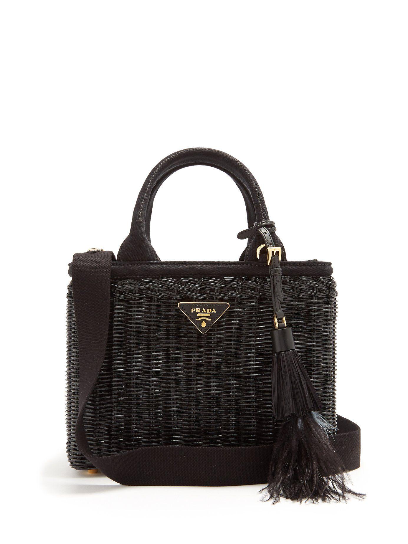 dc9f4745c0ba Canvas and wicker woven bag | Prada | MATCHESFASHION.COM US | Help ...