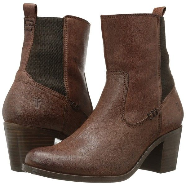 Frye Janis Gore Short (Whiskey Buffalo Leather) Cowboy Boots ($165) ❤ liked