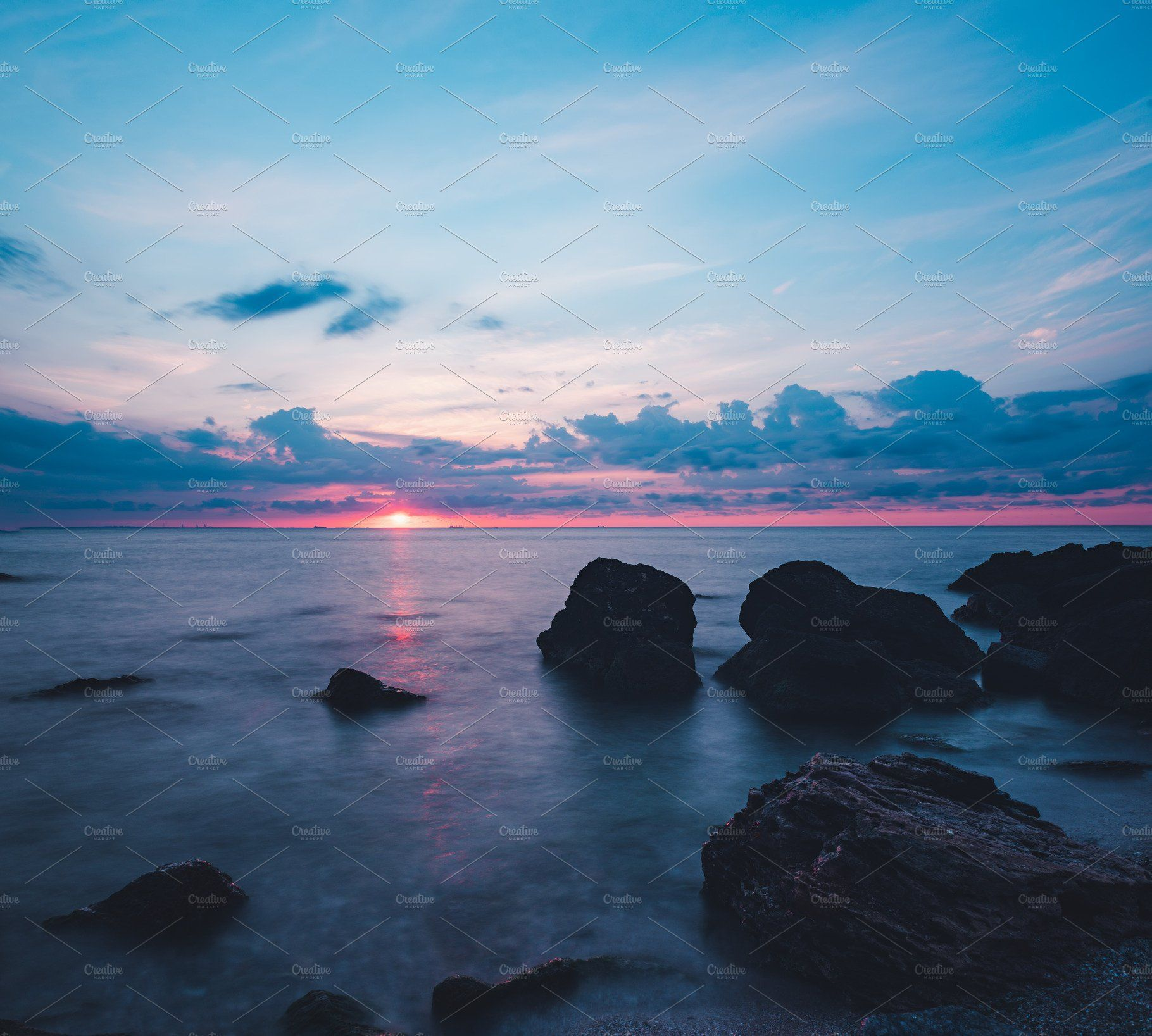 Sunrise At Sea Landscape Scenery Colorful Landscape Nature Photography