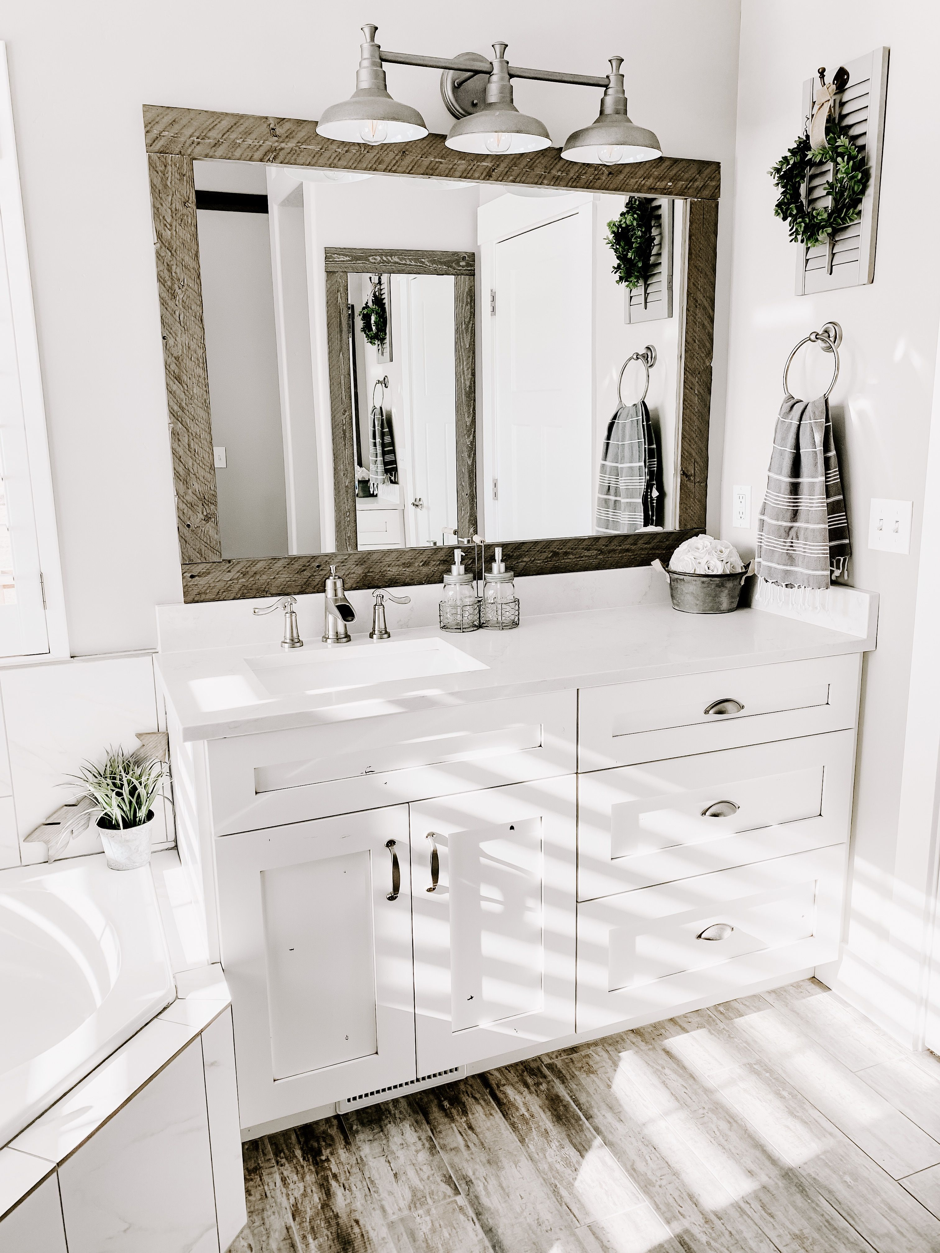 my Farmhouse bathroom with white quartz
