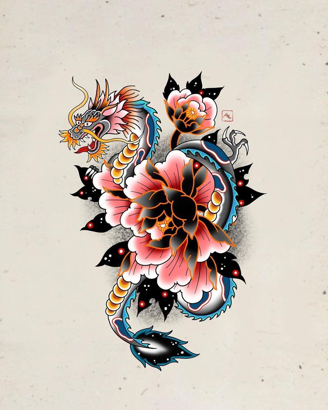 Peony and dragon illustration tattoo flash 시월 • shiwol