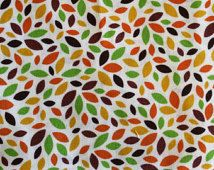 Fat Quarters, Charm Pack - Cotton Fabric for Quilts! Brown, yellow, orange and grean leave shapes, small pattern.
