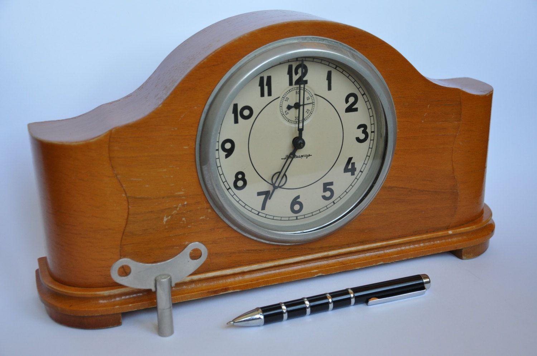 Antique soviet russian ussr vladimir clock 50s mechanical wood antique soviet russian ussr vladimir clock 50s mechanical wood mantel clock by magicclocksstore on etsy amipublicfo Images
