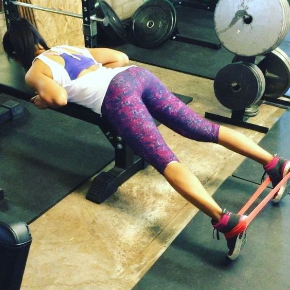 Great Glute Exercise! Prone band hip abduction/internal ...