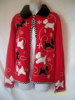 S Kit Kat Scottie Dog Ugly Christmas Sweater Knit Xmas Doggie Fur Embroidered | eBay