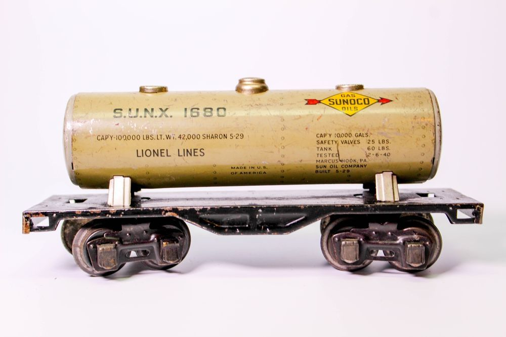 Details About Early Lionel Pre War 1680 Sunoco Tank Car Tanks
