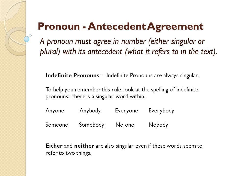 Pronoun antecedent agreements.