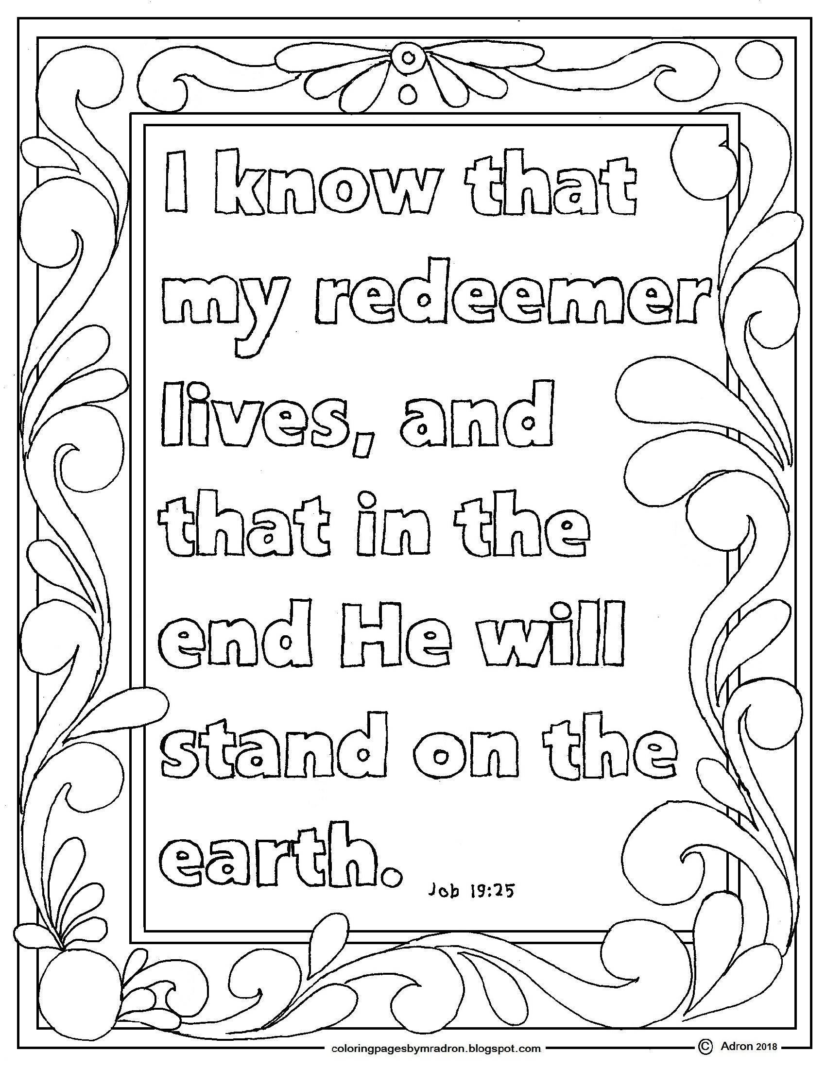 Job 19 25 Print And Color Page I Know My Redeemer Lives Bible