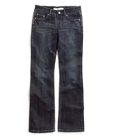 Look what I found on #zulily! Dark Blue Saddle Stitch Decorative-Seam Boot Cut Jeans #zulilyfinds