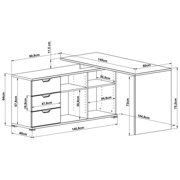 Dimension bureau d 39 angle area guides recettes for Bon plan meuble